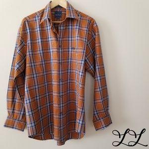Faconnable Shirts BUNDLE of 2 Casual Orange Plaid